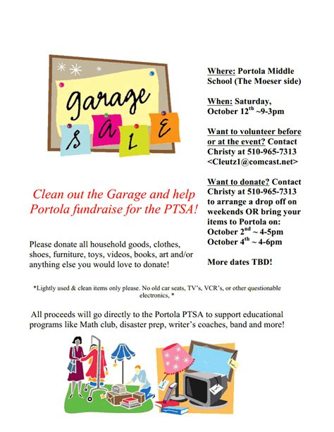 College Garage Sale by October Fundraisers For Portola Fred T Korematsu Middle