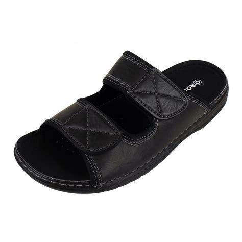 Sandal Abel Black Sandals Slip On Loafer Sandals Pria mens mules sandals faux leather smart slip on velcro