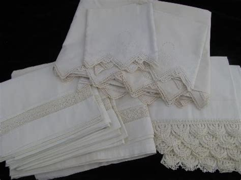 vintage bed sheets vintage white on white bed linens lot antique pillowcases