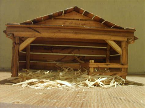 wooden creche nativity stable