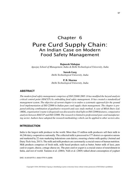 Supply Chain Management Pdf Mba by Curd Supply Chain An Indian On Modern Food