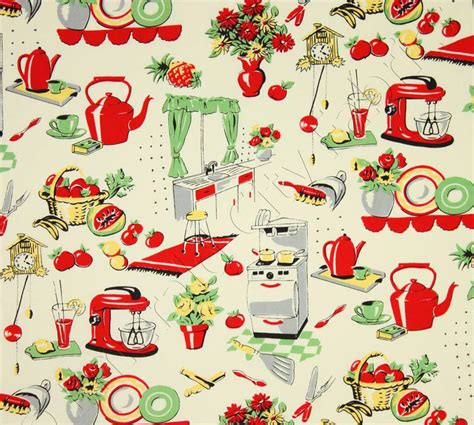 michael miller fabric fifties kitchen by belloberryfabricshop
