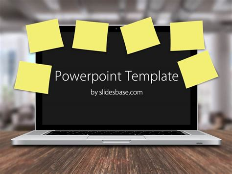 it powerpoint templates laptop post it notes powerpoint template slidesbase
