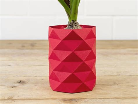 Simple Origami Vase - how to make an origami vase