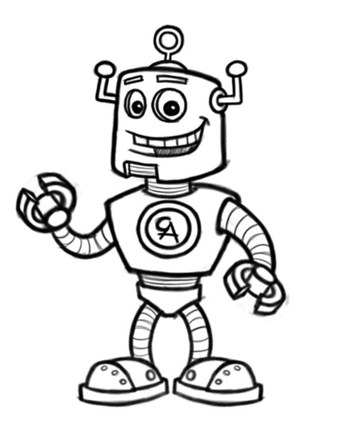 robot cartoon character mascot design
