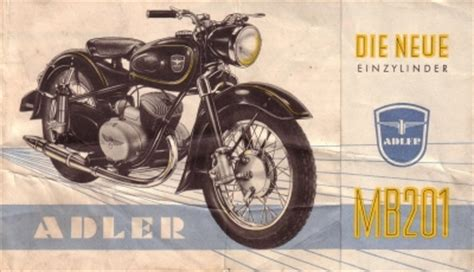 Adler Motorrad by Adler Motorrad Mb 201 Prospekt 1954 Nr Adl M5411