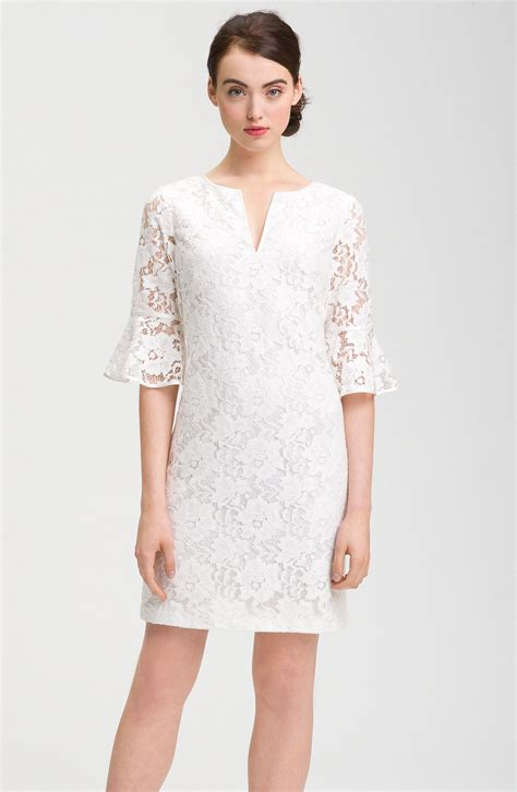 Sleeve Ruffle Lace Dress papell ruffle sleeve lace dress in white lyst