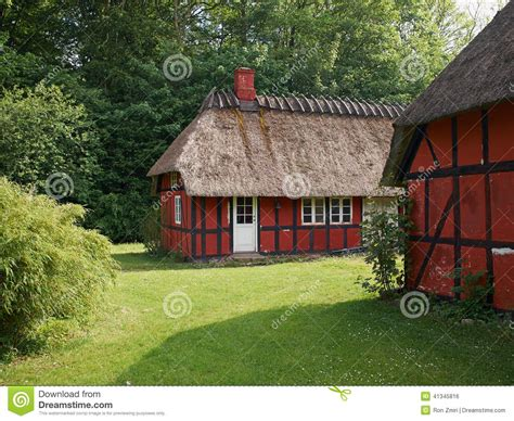 Cottages In Denmark by Half Timbered Thatched Roof House Denmark Stock Photo