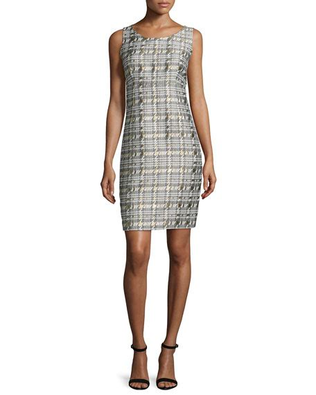 Houndstooth Sheath Dress albert nipon houndstooth jacquard jacket sheath dress set
