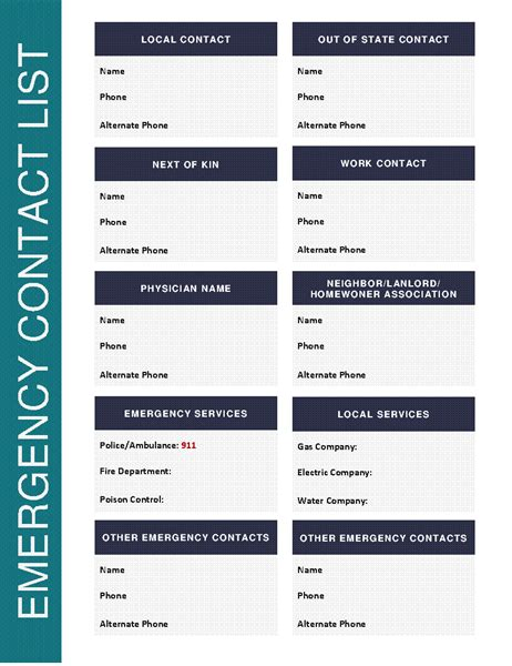 emergency contact business card template emergency contact list