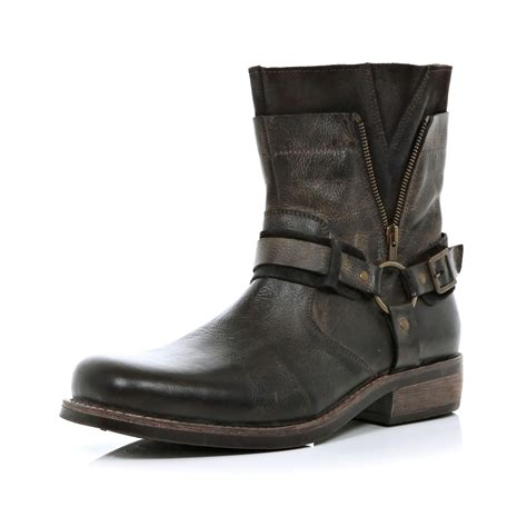 biker boots river island dark brown distressed biker boots in brown