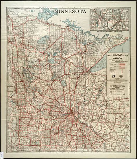 Route Drawer Map by 1932 Map Of Trunk Highway System State Of Minnesota