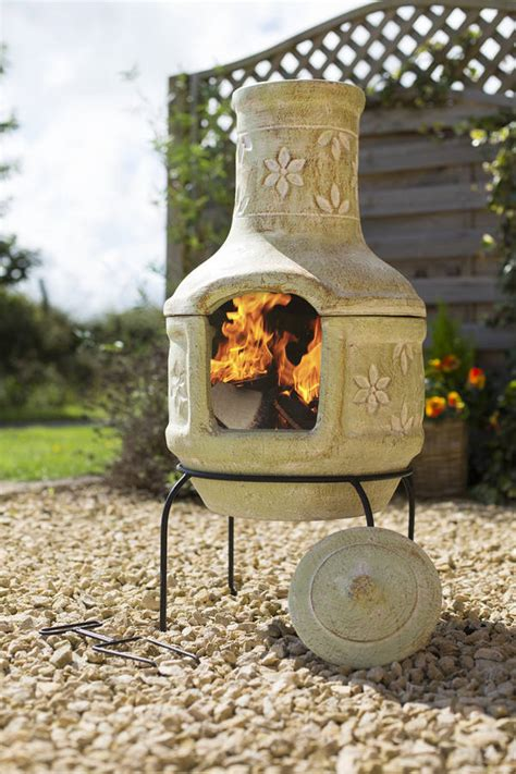 chiminea covered patio pizza flowers clay chiminea patio heater with bbq by