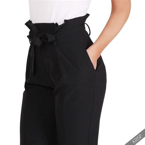 Ruffle Waist Trouser formal business ruffle high waist pencil trousers