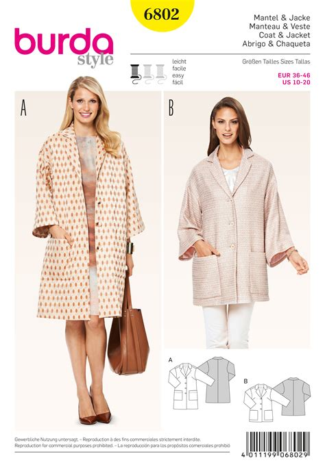patterns free burda burda 6802 burda style jackets coats vests