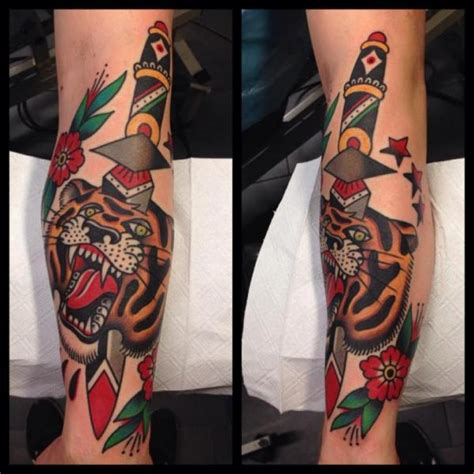 arm old tiger dolch tattoo von filip henningsson