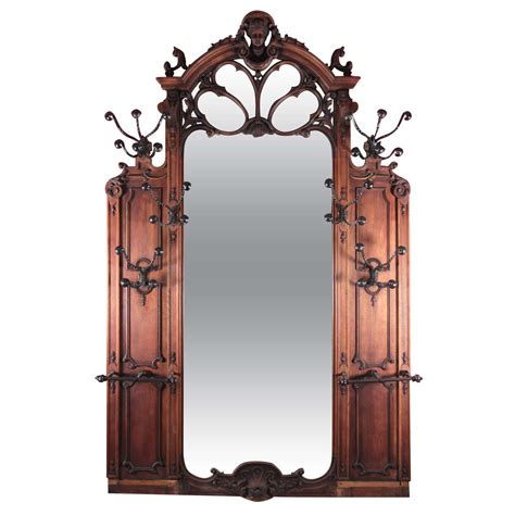 large scale art nouveau wooden hall tree mirror at 1stdibs