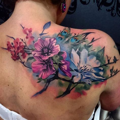 Purple Color Names by Watercolor Flower Tattoo On Shoulder Back By Uncl Paul