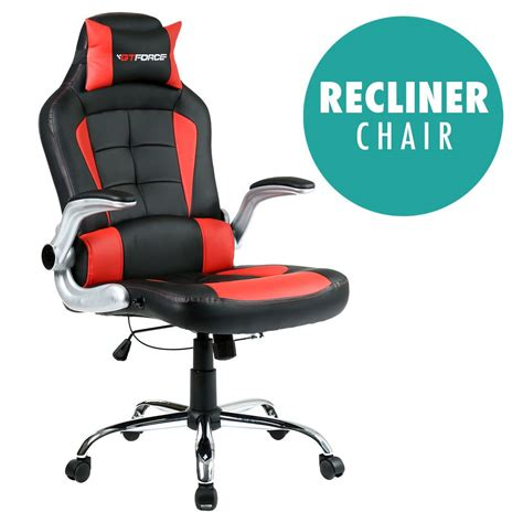 reclining gaming chairs gtforce blaze reclining leather sports racing office desk