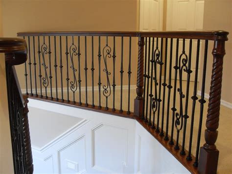 stair banister guard wood iron traditional staircase portland by
