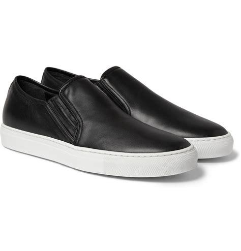 black leather slip on sneakers balmain leather slip on sneakers in black for lyst