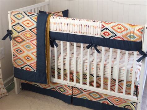 tribal baby bedding tribal baby boy crib bedding set navy gold mint made to order