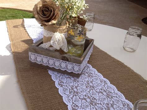 brown burlap and white lace table table runner on