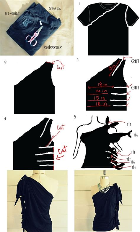 design clothes tutorial diy tutorial clothes refashion diy no sew one shoulder