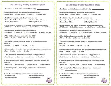 list of questions for celebrities celebrity baby names quiz baby shower pinterest d