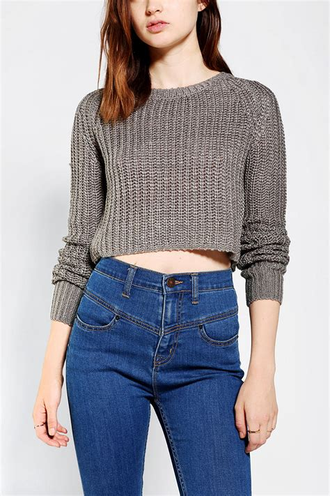 cropped sweater outfitters kimchi blue shaker cropped sweater in