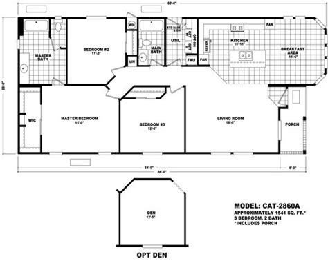 cavco floor plans floor plan cat 2860a catalina series durango homes built by cavco manufactured home