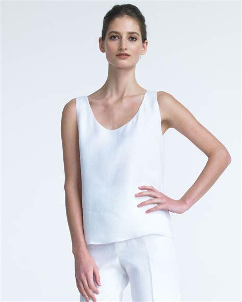 shamask sleeveless linen top in white lyst