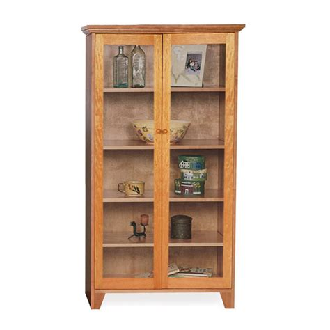Custom Glass Door Shaker Bookcase   Natural Cherry, Walnut
