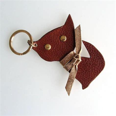 Bagcharm Handmade keychain keyfob bag charm kitten in brown leather