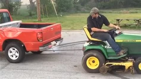 ford vs deere lawn tractor in epic tug of war