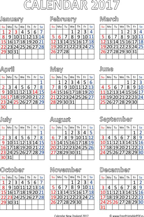 printable calendar december 2017 nz new zealand 2017 calendar printable free printable pdf