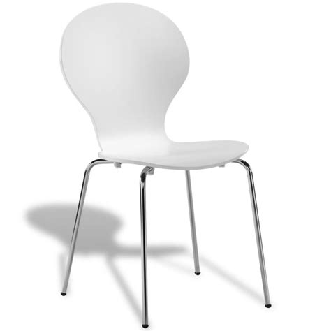 6 Stackable Butterfly Dining Chairs White Vidaxl Co Uk 6 White Dining Chairs