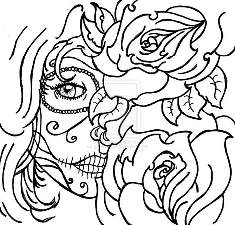 coloring page skull sugar mexican candy gypsy candy