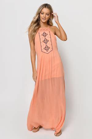 cute peach dress orange dress embroidered kaftan dress