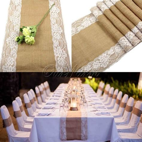 Vintage Jute Burlap Lace Hessian Table Runners Wedding