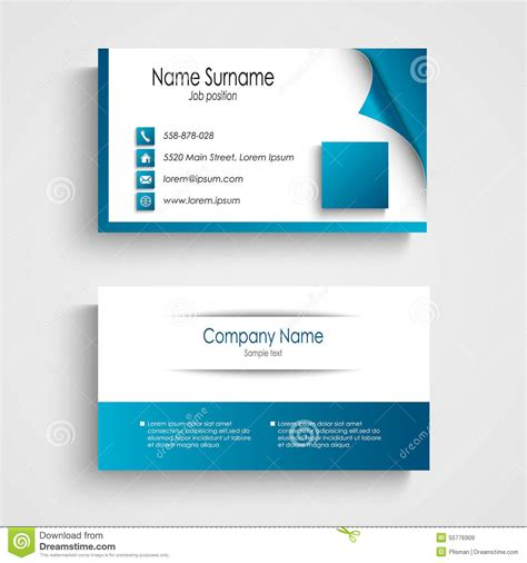 vistaprint business cards blue template business card modern blue and white template stock vector