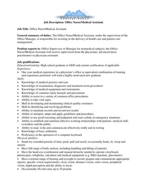 Job Description: Office Nurse/Medical Assistant