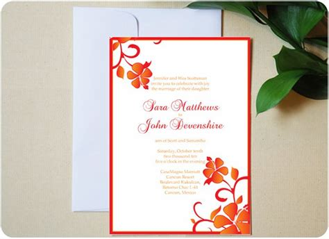 luau wedding invitations hawaiian themed hibiscus beachy wedding invitation
