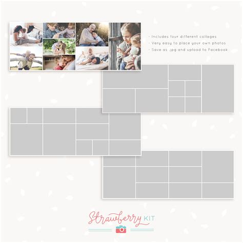 20x30 collage template cover collage templates set of 4 strawberry kit