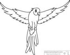 Bird Wings Outline by Animals Green Parrot Open Wings Black White Outline 914 Classroom Clipart