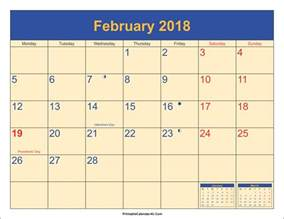 Malta Kalendar 2018 February 2018 Calendar With Holidays Calendar Printable Free