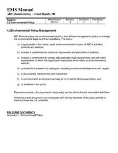 example ems manual iso 14001