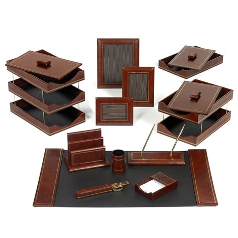 Office Desk Set Line Leather Desk Set Brown Desk Sets Office Accessories Home Decor
