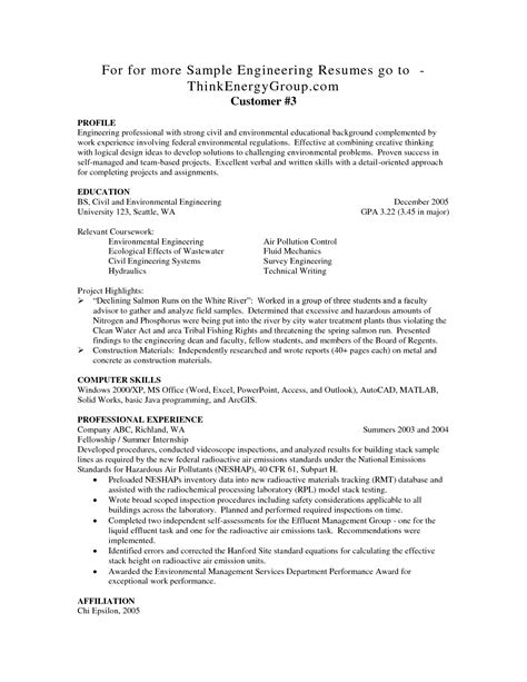 Resume Exles Entry Level Engineering Sle Civil Engineering Resume Entry Level Gallery