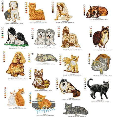 embroidery design dog dogs and cats machine embroidery design 4x4 dst exp hus